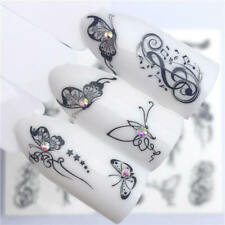 3 Sheets Black Butterfly Nail Art Sticker Water Transfer Decals Decorations