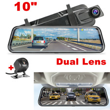 "10"" Rear-view Mirror Car DVR Dual Lens Dash Cam Video Recorder Camera Touchable"