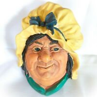 Vintage Bossons England Chalkware Wall Hanging Sarah Gamp Head Hand Painted