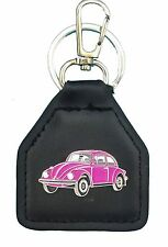 Pink Later Model Model Volkswagon Beetle, Quality Leather Keyring