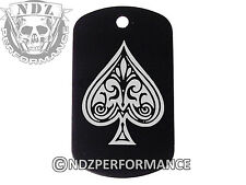 Dog Tag Military ID K9 Customized Laser Engraved BLK Ace of Spades