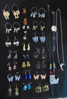 Vintage Cat Jewelry-Lot of 20 Earrings, 2 Necklaces, 2 Pins, 1 Watch & 1 Pendant