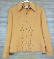 Western Womens Jacket sz S Geometric Floral Stenciled Paint Lined Hand-Made