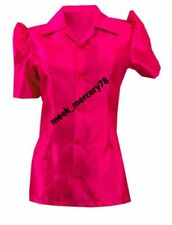 Short Sleeve Button-Down Pink Tops & Shirts for Women