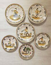 6 Antique Ceramic Pottery Wall Plates Chargers Dishes with People working