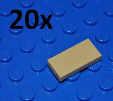 LEGO PARTS - 20X 1X2 TAN TILES/FLAT BUILDING PIECES/BULK PANELS/3069/BEIGE/SAND