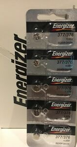 5 x FRESH Energizer 377 376 WATCH BATTERY SR626SW SR626W Silver Oxide Battery
