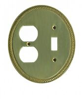 Solid Brass Toggle/Outlet Switch Plate Cover Oval Braided