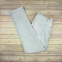 ANN TAYLOR LOFT Women's Relaxed Skinny Bleach Distressed Pants 26/2 Blue White