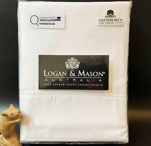 Logan & Mason White Cotton QUEEN FLAT SHEET 1200 Thread Count, Quality As New
