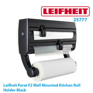 Leifheit Kitchen Roll Holder Parat F2 Wall Mount Foil Cling Film Dispenser Black