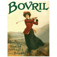 Bovril Golfer Female Girl Healthy Strength and Beauty Sport Golf Metal Sign