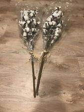 Cotton Ball Faux Tall Stems - Lot Of 2 (3 Stems In Each Pack) 30 Inch