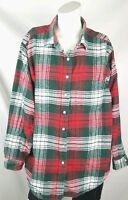 L.L.Bean women's flannel shirt size 16 green white red plaid classic button up