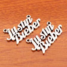 7160# 20 Piece Justin Bieber Charm Linker DIY Jewelry Bracelet Tibetan Silver