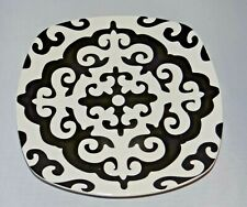 """ROSCHER Black & White 8"""" Hors D'oeuvre Salad Bread Snack PLATE Stoneware"""