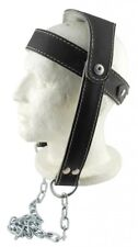 Cowhide Leather Head Harness Neck Harness Adjustable Belt Chain Dip +Metal Chain