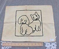 Vintage Children's Cat & Dog Embroidered Pillow Case c1938