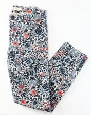 Tory Burch Micro Flower Print Skinny Cropped Jeans Butterfly sz 26