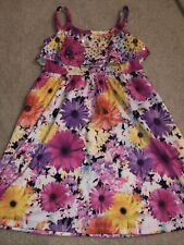 Justice Girl Multi Color Sleeveless Sequin Bodice Floral Dress Party Summer SZ 8