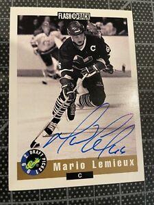 1992 CLASSIC MARIO LEMIEUX PITTSBURGH PENGUINS HOCKEY CARD HAND SIGNED AUTO
