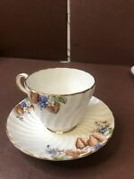 Aynsley Tea Cup And Saucer England Bone China White And Floral Blue Gold