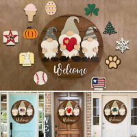Heart Triple Gnome Welcome Sign Front Door Hanger for Farmhouse Wall Decorated