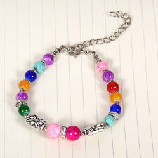 HOT Free shipping New Tibet silver multicolor jade turquoise bead bracelet S118B