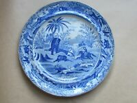 "CLEWS GUARANTEED STAFFORDSHIRE BLUE & WHITE DEATH OF THE BEAR 10"" PLATE(Ref5452)"