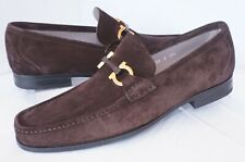 New Salvatore Ferragamo Grandioso Men's Shoes Size 8 E Brown Loafers Suede