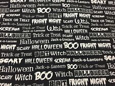 Windham Halloween Words Phrases Different Fonts in White on Black Fabric 22in.