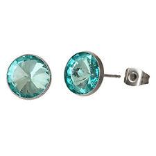 Stud Earrings with Rhinestone March Birthstone Stainless Steel Post