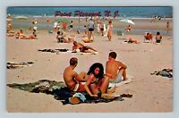 Point Pleasant NJ, Relaxing On The Beach, Chrome New Jersey Postcard
