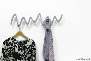 Modern Decorative Wall Hook, Grey Zick-Zack, Coat Rack - Wall mount Acrylic Rack
