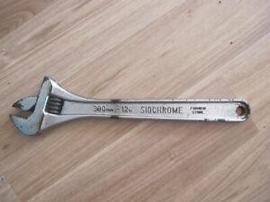 """Vintage SIDCHROME 12""""  300MM Adjustable Spanner Wrench"""