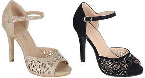 Ankle Buckle Strap Cutout Designs Peep Round Toe Glitter High Heels Pumps Sandal