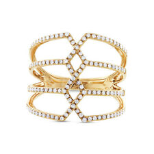 Diamond Cocktail Ring 14k Yellow Gold Pave Crisscross Open Multi Row Band 0.35ct