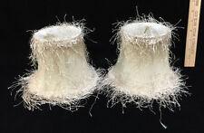 "Lamp Shades Ivory Shaggy String Fringe Fabric Bell Shape Bulb Clip 5"" Pair Set 2"