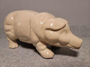 CLASSIC! HTF Stone Wall Kitchen Ceramic Pig Large Piggy Bank
