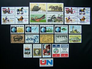 US STAMPS 1970 YEAR COMPLETE SET, SCOTT # 1387-1392, 1405-1422. OG, MNH