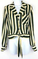 Who What Wear Womens Black White Yellow Long Sleeve Crop Blouse Top  Medium NEW