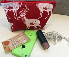 White Deer on Red  18 x 14 x 12 x 5 Makeup, money Purse