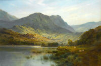 Beautiful Oil painting nice landscape A Scotch Lake & mountains and sheep canvas