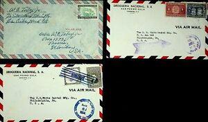 HONDURAS 1948-54 SET OF 3 AIRMAIL COVERS W/ 5v AIRCRAFT, ARMS, BUILDING TO USA