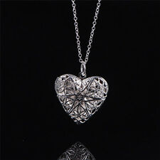 Women Silver Picture Locket Hollow Heart Photo Pendant Chain Necklace SW