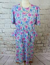 "Vintage ST MICHAEL dress 16 P bust 38"" floral peplum summer pink blue midi M&S"
