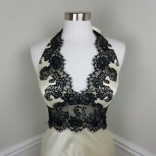 100% ivory silk black lace dress size 2 small satin lined wedding prom evening