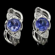 Sterling Silver 925 Genuine Natural Blue Violet Tanzanite & Heart Stud Earrings