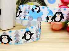 "1M 22mm 7/8"" PENGUIN CHRISTMAS GROSGRAIN RIBBON 99p CAKE PARTY XMAS"