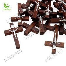 FREE Wholesale Lots 100pcs Alloy JESUS Cross Wood Beads Pendants Fit Necklace